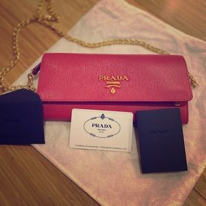 Authentic PRADA Pink Peonia Small PurseChain Strap